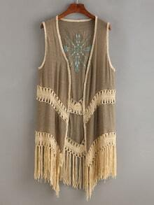 Embroidered Crochet Fringe Vest Coat