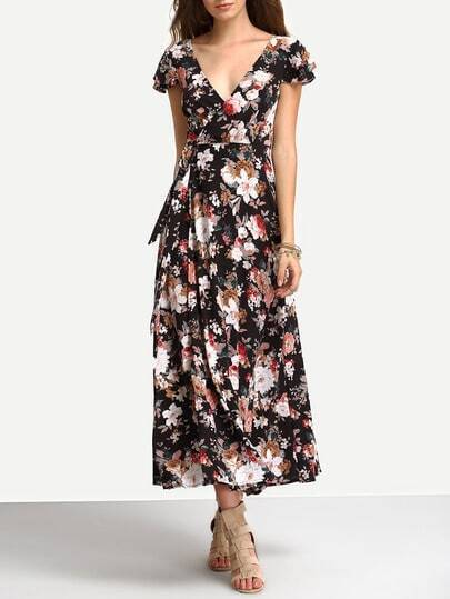 Flower Print Self-Tie Lace-Up Long Dress