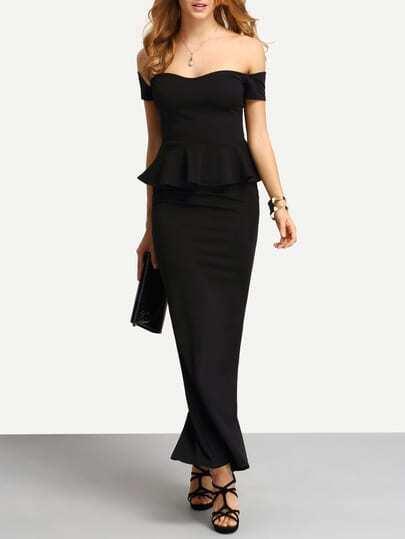 Off-The-Shoulder High Slit Peplum Dress
