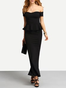Off-The-Shoulder High Slit Peplum Dress
