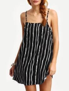 Vertical Stripe Double Racer Cami Dress