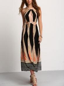 Halter Cutout Geo Print Maxi Dress