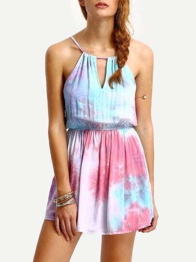 Tie Dye Print Cutout Cami Romper