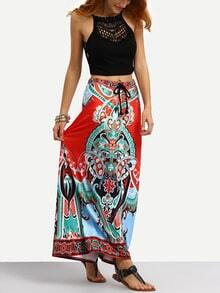 Tribal Print Tassel Tied Waist Maxi Skirt