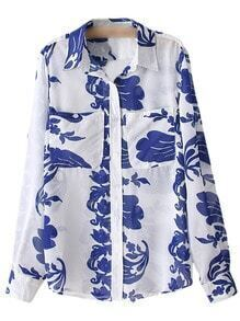 Pockets Blue and White Porcelain Print Blouse