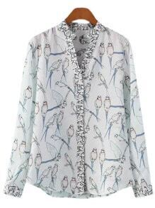 Multicolor V Neck Buttons Front Bird Print Blouse