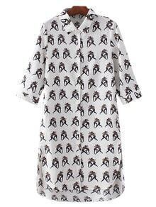 Multicolor Dipped Hem Cartoon Print Shirt Dress