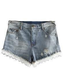 Light Blue Pockets Lace Trim Ripped Hole Denim Shorts