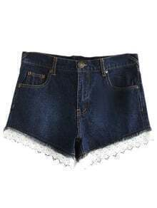 Dark Blue Pockets Lace Trim Ripped Hole Denim Shorts