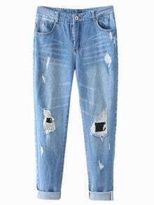 Blue Pockets Ripped Hole Skinny Denim Pants