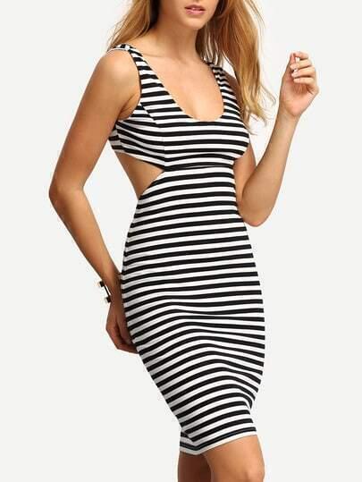 Black White Striped Hollow Bodycon Dress