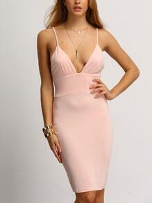 Pink Spaghetti Strap Backless Sheath Dress