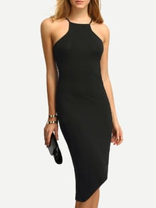 Black Cut Away Irregular Dress
