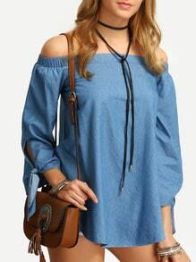 Blue Denim Off The Shoulder Tie Cuff Blouse