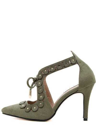 Dark Green Point Toe Studded With Buckles High Heel Sandals Image