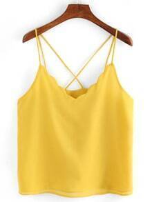 Scollaped Neckline Crisscross Cami Top