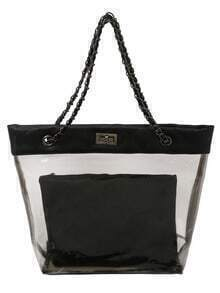 Quilted Top Transparent Chain Tote Bag