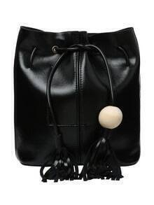 Wood Ball Tassel Drawstring Bucket Bag - Black