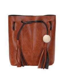 Wood Ball Tassel Drawstring Bucket Bag - Brown