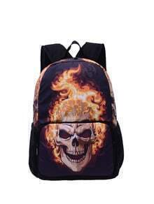 Burning Skull Print Backpack