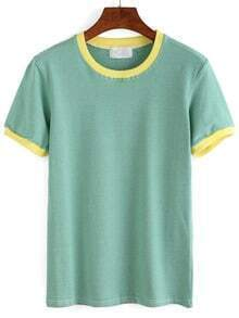 Pale Green Contrast Striped T-shirt