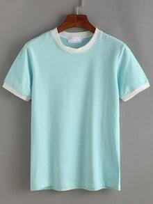 Pale Blue Contrast Striped T-shirt