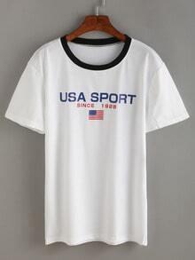American Flag Print Contrast T-shirt