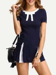 Contrast Bow-Tie Neck A-Line Dress