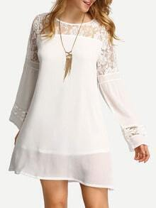 White Lace Insert A-Line Dress
