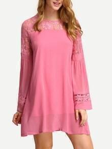 Pink Lace Insert A-Line Dress