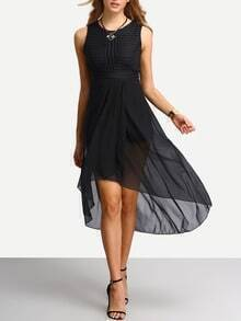 Black Chiffon High Low Dress