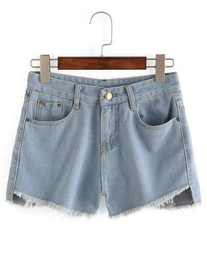 Pale Blue Frayed Denim Shorts