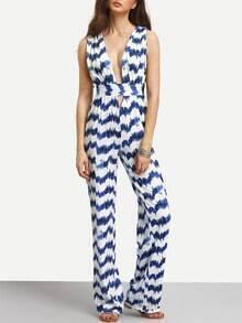 Tie Dye Stripe Print Cutout Sleeveless Jumpsuit