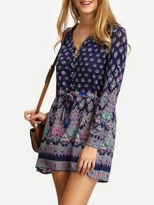 V Neck Elbow Sleeve Print Shirt Dress