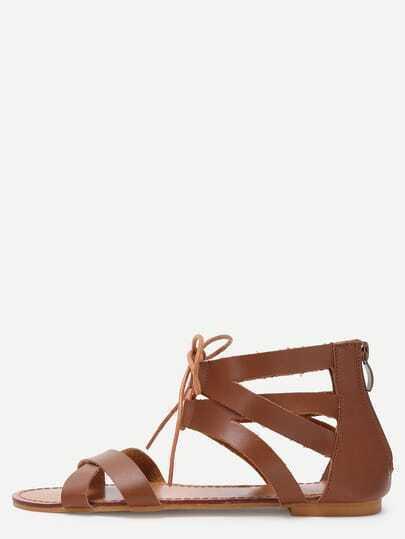 Brown Peep Toe D'orsay Gladiator Sandals
