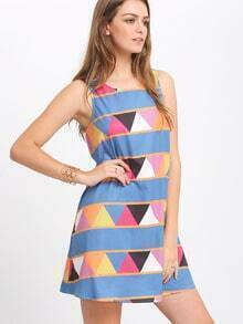 Multicolor Sleeveless Print Shift Dress