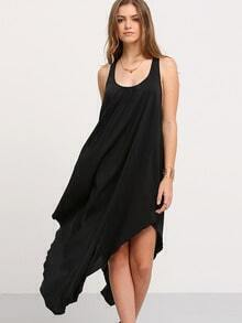 Black U Neck Hollow Back Irregular Dress
