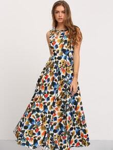 Multicolor Sleeveless Print Hollow Maxi Dress