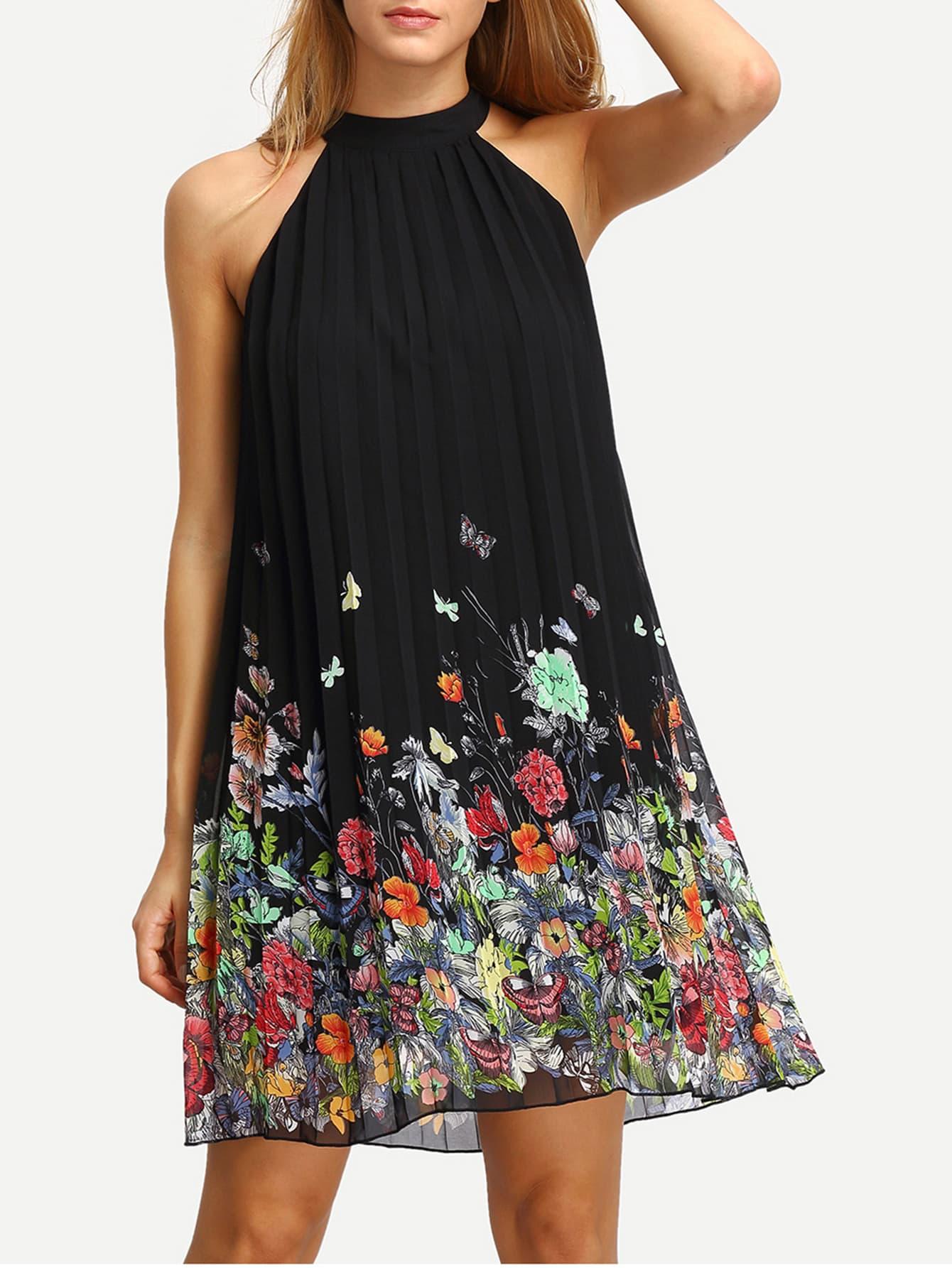 Floral Print Cut Away Shift Dress vintage floral print mini shift dress