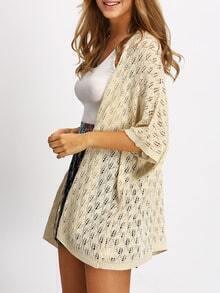Apricot Half Sleeve Knit Kimono