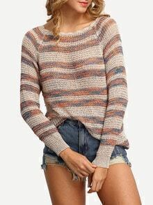 Multicolor Striped Long Sleeve Knit T-shirt