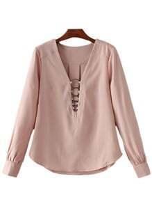 Pink Deep V Neck Metal Circles Long Sleeve Blouse