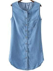 Blue Sleeveless Pocket Buttons Front Shirt Dress