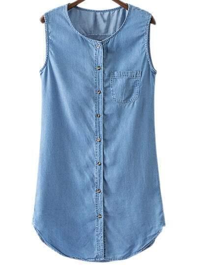 Blue Sleeveless Pocket Buttons Front Shirt Dress