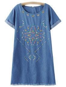 Blue Roll Cuff Zipper Back Embroidery Denim Dress