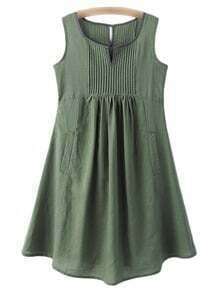 Green High Waist Pockets Cotton Hemp Pleated Dress