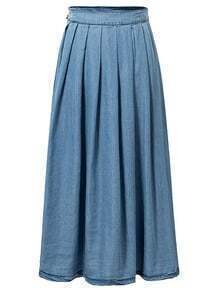 Blue Side Button Zipper Denim Pleated Dress