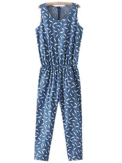 Blue Pockets Elastic Waist Zipper Back Beard Print Jumpsuit
