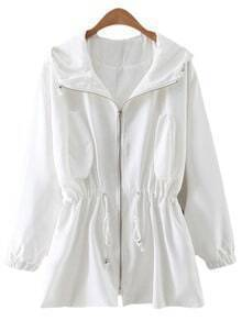 White Drawstring Zipper Front Sunscreen Hooded Outerwear