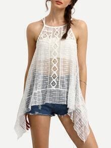 White Sheer Crochet Hollow Out Asymmetrical Cami Top